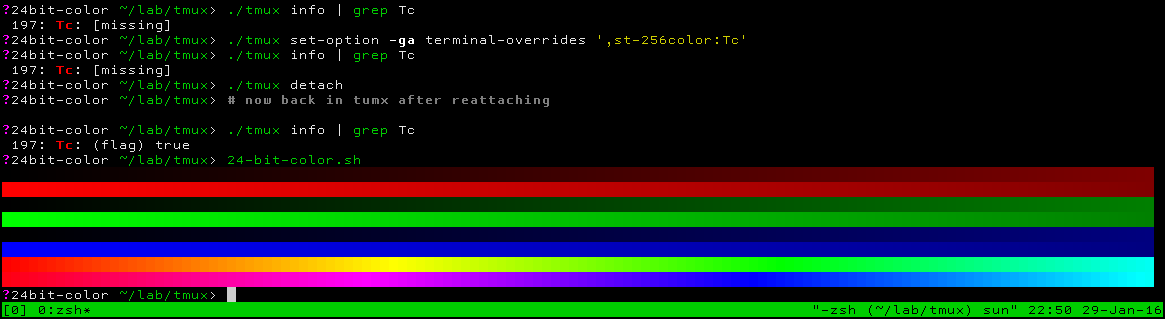 Demonstration of 24-bit colors in tmux under st 0.6