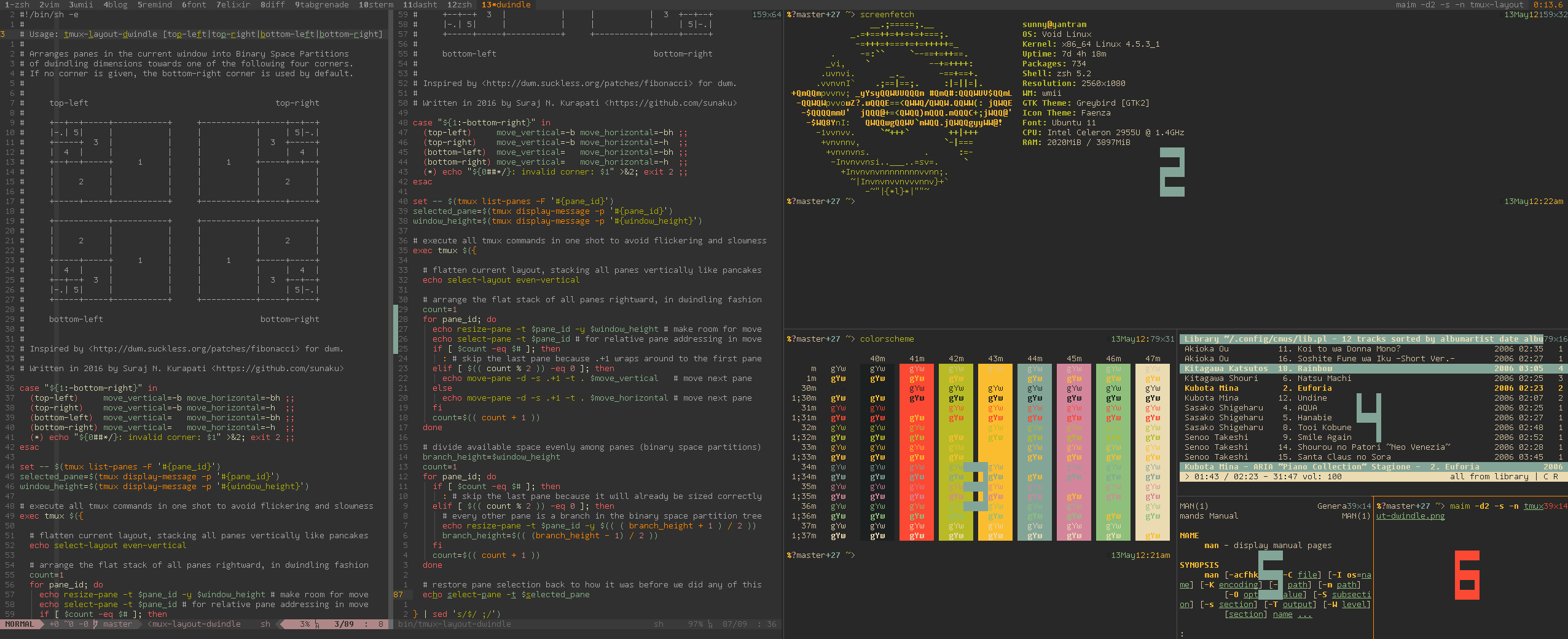 A sample result of running `tmux-layout-dwindle`.